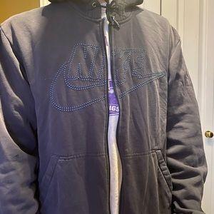 vintage nike full zip navy blue